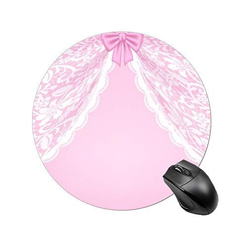 Mesllings Roze Kant Gordijnen En Boog Niet-lip Aangepaste Mousepad Rubber Basis Doek Gaming Muis Pads Voor Computers Laptop, Ronde
