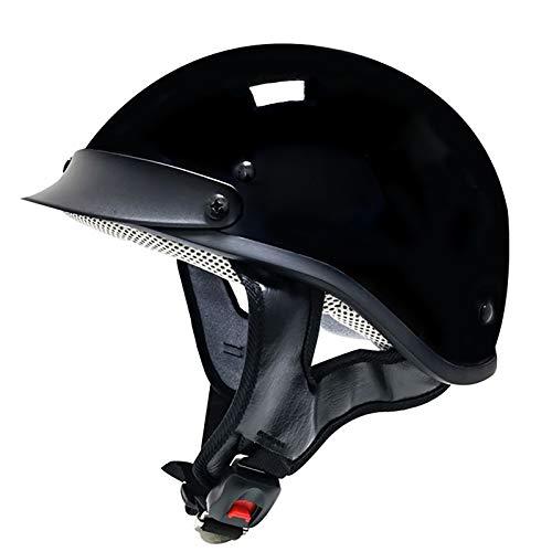 HZIH Cascos De Moto,Casco Moto Abierto,Medio Casco De Motocicleta Retro,ECE Homologado Retro Moto Cascos Half-Helmet De La Bici del Casco del Viaje Crucero Cascos Estilo Alemán A