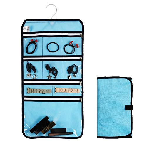 ANIZER Travel Foldable Jewelry Rolls Bag Hanging Jewelry Organizer with 9 Zippered Clear Pockets Storage Pouch with Rotatable Hanger Blue