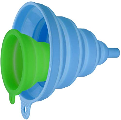 INMAKER Collapsible Funnel Set 2 Pack Small and Large Silicone Foldable Funnel for Water Bottle