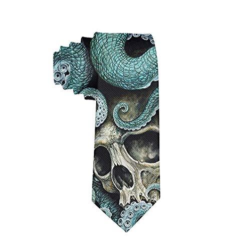 Corbata de moda para hombre Corbata de pulpo con calavera Corbata de talla única