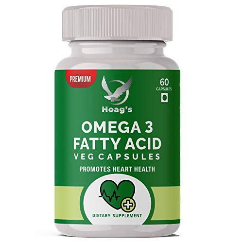 Hoag's Natural Source of Omega- 3-6 - 9 with DHA & Flaxseed Oil Triple Strength Formula || Support Brain Devlopment Skin, Hair, Heart, Joints & Eye Health - 60 Veg Capsules …