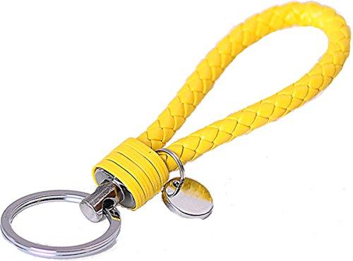Stylisher Schlüsselanhänger geflochtenes Kunstleder, Farbe: GELB, Länge: ca. 13,5cm für z.B. Autoschlüssel, Wohnungsschlüssel etc.