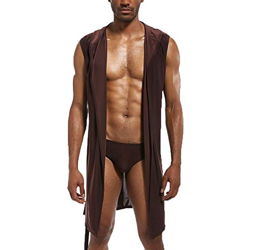 niceoh Albornoz suave sin mangas de verano con capucha sedosa, para hombre, ropa de dormir sexy hasta la rodilla con cinturón (Brwon, L)