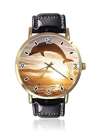 Wunderschöne Damen- und Herrenuhr, Motiv: Sonnenuntergang, Delfin, modisch, Unisex, Leder, Casual Quarzuhr