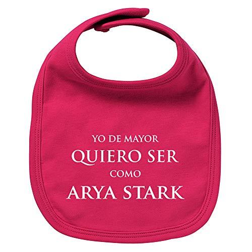 ClickInk Babero de bebé Quiero ser como Arya Stark (Juego de tronos - parodia). Regalo original. Babero bebé divertido. Bebé friki. (Granate)