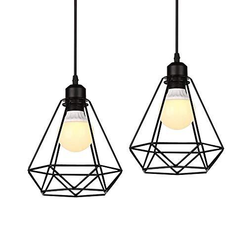 2pieza industriales lámpara colgante vintage de metal, Retro jaula creativos–Lámpara de techo, E27Pantalla, forma de diamante Hierro Lámpara de techo estructura de metal araña
