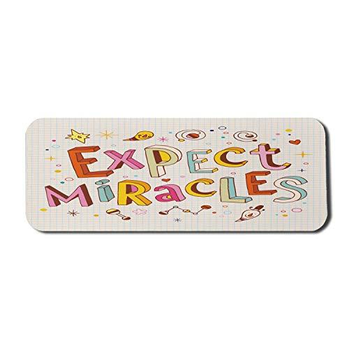 Alfombrilla para ratón de Ordenador con diseño Infantil, Excepto Letras milagrosas con Motivos Divertidos y Adornos en el Cuaderno, Alfombrilla Rectangular de Goma Antideslizante, Grande, Multicolor