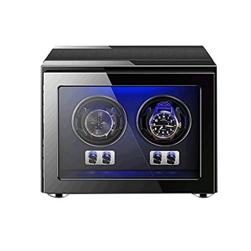 WRNM Cajas Giratorias para Relojes con Motor Silencioso Luz LED Azul Almacenamiento Rotación Relojes Dobles Caja Expositora para Mecánicos Automáticos