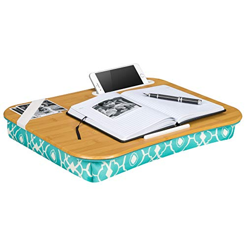 LapGear Designer Lap Desk with phone holder - Aqua Trellis - Fits up to 17.3 Inch laptops - Style No. 45512