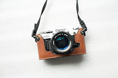 Housse en Cuir véritable Fait à la Main avec étui pour Appareil Photo pour Canon AE-1 Jaune Marron
