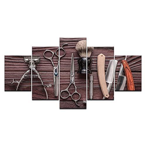 TYART 100×55cm Cuadro Herramientas de peluquería de 5 Paneles Tijeras de Afeitar Herramienta de Peinado de Belleza Impresión en HD Pintura de Lienzo En la Pared Imagen de Arte barbería