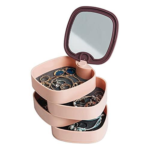 Joyero, 4 capas 360 °, bandeja giratoria para joyas, caja para joyas, caja para anillos, pendientes, collares, cumpleaños, niñas, mujeres, regalo (rosa)