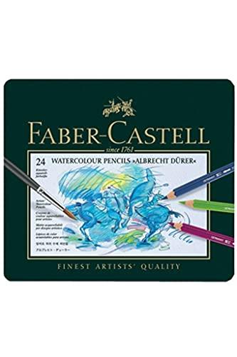 Faber-Castell Rotuladores de acuarela Albrecht Durer®, 24 colores surtidos en estuche de metal; contenido del paquete: 24 unidades.