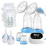 Elektrische Milchpumpe, Doppel Milchpumpe Stillpumpe mit 4 Modi 9 Stufen, LED-Touchscreen, BPA-frei, starke Saugkraft, Kostenlos 10 Muttermilchbeutel 2 Entenschnabelventile 2Flaschensauger