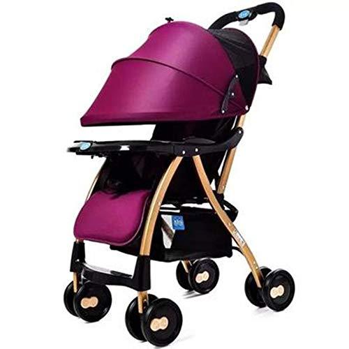 HUKN Cochecito de bebé Cochecito de Cochecito Plegable liviano Puede Sitio Lista DE LOS NIÑOS DE NIÑOS PISTRILLER (Color : Purple)
