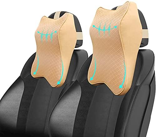 Greendhat 2Pcs Car Neck Pillows, Ergonomic Car Headrest Pillow 100% Pure Memory Foam Car Seat Neck Pillow for Neck Pain Relieve & Cervical Support, Neck Rest Cushion Soft Breathable (Brown)