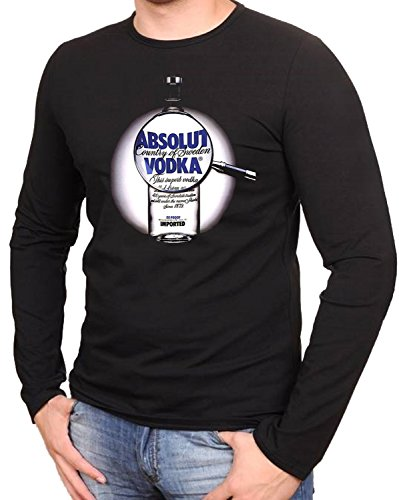 Vodka Absolut Schwarze Fun Camisetas de Manga Larga T-Shirt- 041LA