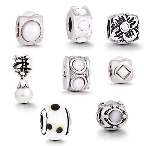 AKKi jewelry Damen Beads Charms für Armband 8er Set Anhänger - Charm Kette Murano Glas Frauen Schmuck