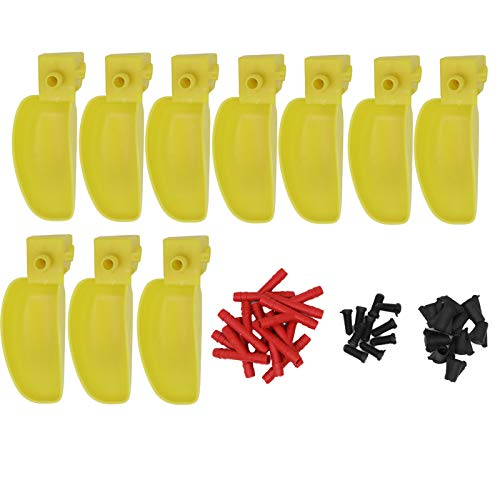 livestocktool.com 10 Pack Pigeon Quail Waterer and Feeder Drinking Cup Bowl Poultry Bird Watering System (Yellow)