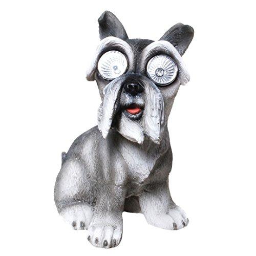 Topshop24you wunderschöne Solarleuchte,Solarlampe Hund,Schnauzer mit Solar-Augen aus Polyresin
