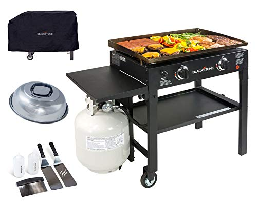 Blackstone 28 inch Outdoor Flat Top Gas Grill Griddle Station - 2-burner - Propane Fueled - Restaurant Grade - Professional Quality with Cover, Accessory Kit and Dome
