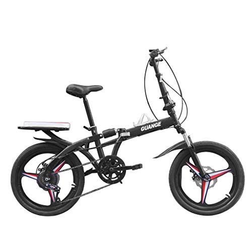 NDGDGA Folding Bike for Adults, 20 Inch Variable Speed Adjustable Folding Bicycle, Lightweight Mini Outdoor Racing Cycling, Travel Non-Slip Double Shock Absorption Bike (Black)