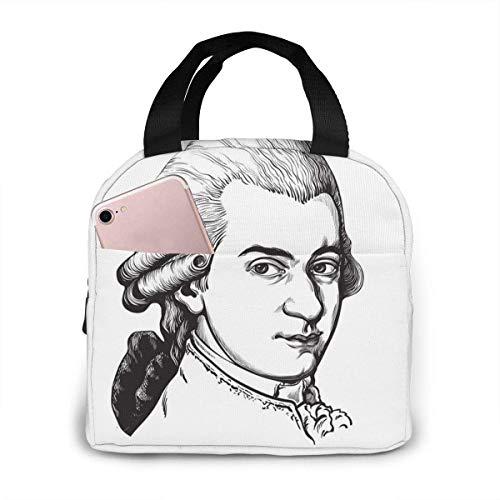 Tyueu Wolfgang Amadeus Mozart Portrait Brotdose for Women Stylish Lunch Tragetaschen Isolierte Lunch-Tasche Lunch Bag Insulated Lunch Container