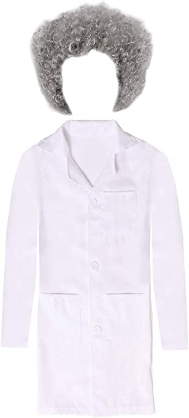 Einstein Doctor Fancy Dress Lab Coat Overalls Nurse Kids White Scientist