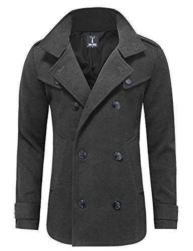 TAM WARE Mens Classic Wool Double Breasted Pea Coat TWCC06-CHARCOAL-US M