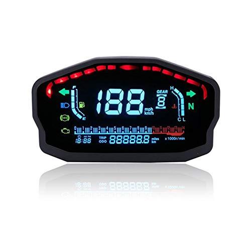 Biggystar Motorrad LCD Digital Instrument Farbdisplay LCD Tacho Kilometerzähler 1-6 Geschwindigkeit Wassertemperatur Ölzähler 2 Zylinder 4 Zylinder Universal