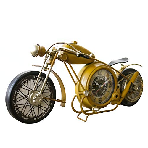 YOUKI Metal Motorcycle Desk Clock, Retro Vintage Non-Ticking Table Clock Battery Operated Silent,Easy to Read,Wall Decor 16.6 x 1.5 X 7.9 Inches,Yellow