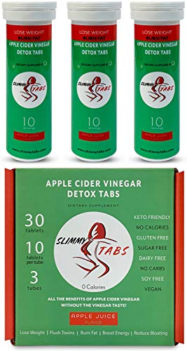 Worlds First Apple Cider Vinegar Detox and Weight Loss Effervescent Tablets by SlimmyTabs - Natural Ingredients, Organic, Vegan, Gluten-Free, Unfiltered with The Mother Tablets   Apple Juice Flavor
