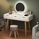 N/Z Living Equipment Mesa de Maquillaje para Dormitorio Tocador de Gran Capacidad con Luces LED Espejo y Taburete Acolchado Juego de tocador para el hogar para niñas Escritorio Espacioso