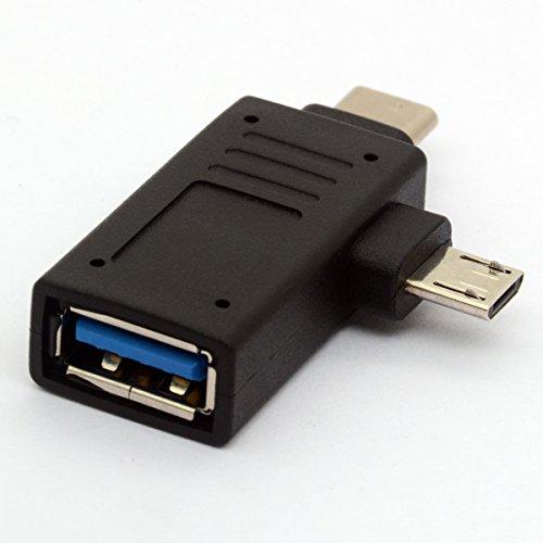 Adaptador 2 en 1 Micro USB 3.0 y 2.0 Tipo C OTG Adaptador, USB-C Macho Micro USB Macho a USB-A 3.0 Hembra Convertidor On The Go para Tabletas Teclado