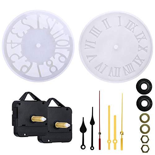 Nsiwem Langer Schaft Quarzuhrwerk mit Uhrzeiger 2 Stück Langschaft Uhrwerk mit Zeiger Hoch Drehmoment und 2 Stils Harz Uhr Alarm Silikonform Gießform für DIY Wanduhr