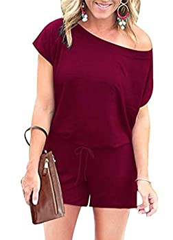 PRETTYGARDEN Women s Summer Casual Off Shoulder Short Sleeve Shorts Loose Jumpsuit Rompers with Pockets Wine Red