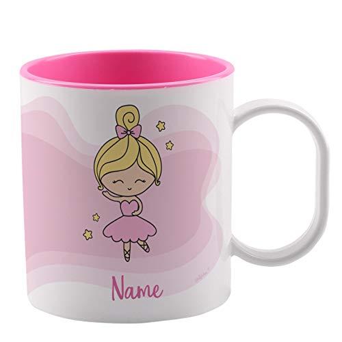 Striefchen® Bruchfeste Kindertasse mit Namen aus Kunststoff in Rosa mit Motivauswahl Ballerina