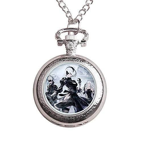 NieR:Automata Impermeable tirón del reloj del regalo del animado de la historieta de los niños del reloj de encargo collar hecho reloj de bolsillo for niños y niñas ( Color : A02 , Size : Onesize )