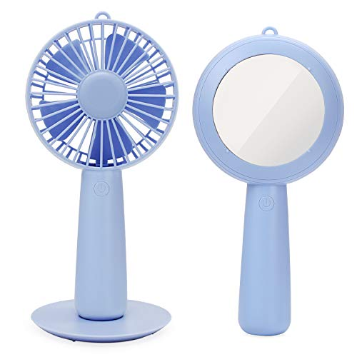ESUMIC Handheld Portable Mirror USB Rechargeable Desk Cooling Fan Air Contioner Office Table Cooling Fan for Home Office Traveling Camping (Purple)