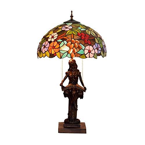 BINGFANG-W Dormitorio De 16 Pulgadas de UVA Stained Glass Sala Comedor lámpara de cabecera Americana Cubierta Lampwith Base de Resina, E27,40W (40 * los 59CM) Lámparas de Mesa Lámpara de Mesa