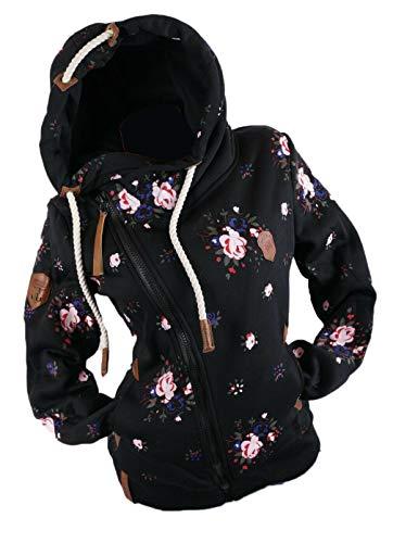 xy Damen Sweat Jacke Kapuze Fleece gefüttert Hoodie Übergangsjacke Blume Blumenmuster (Schwarz, 3XL)
