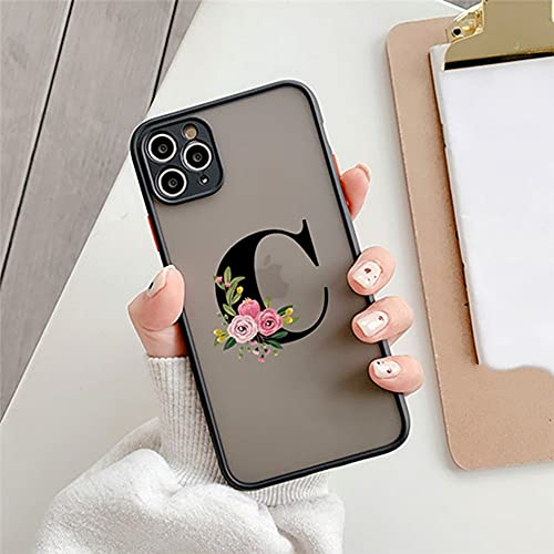 Protección de la cámara Funda para teléfono con Letra Inicial para iPhone 11 12 Mini Pro MAX X XS XR 7 8 Plus SE 2020 Funda rígida Mate Transparente con Flores, C, para iPhone XR