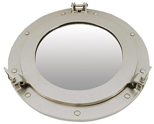 Générique spiegel patrijspoort om te openen, messing, grijs 38 x 38 x 7,5 cm grijs.