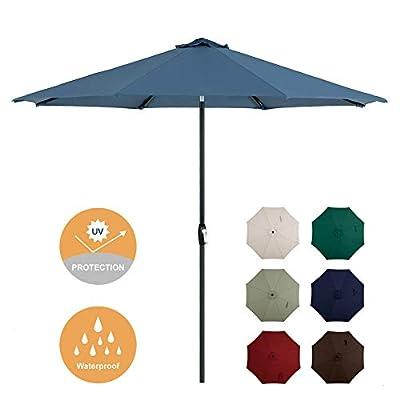 Tempera 10ft Patio Umbrella Outdoor Garden Table Umbrella with Crank and Auto-Tilt Function, 8 Steel Ribs in 200G Marine Olefin