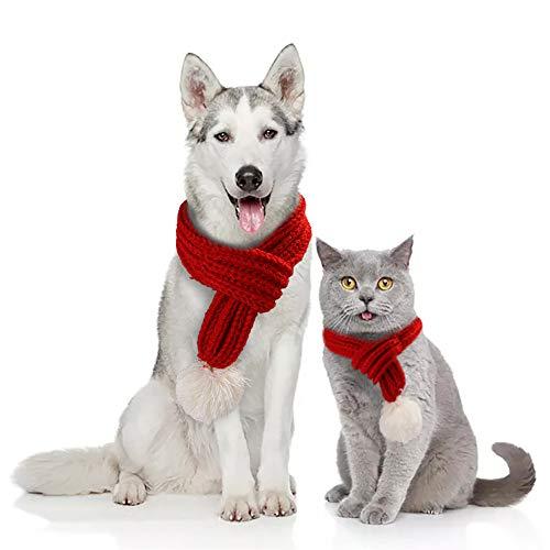 TIAS Weihnachts-Schal für Hunde, Winter-Haustier-Hunde-Schal, Weihnachts-Hundeschal, Haustier-Weihnachtskostüm, Weihnachts-Schal-Set für Hunde und Katzen