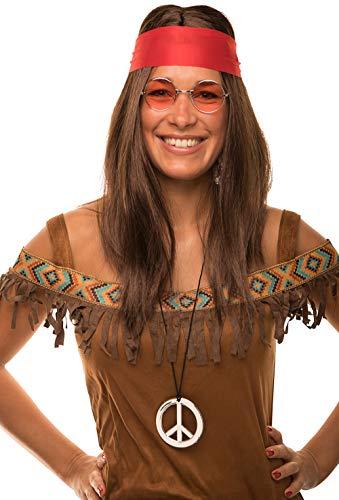 Balinco Hippie Set mit Perücke + runde Sonnenbrille + Peace Anhänger + rotes Kopfband für Damen & Herren 70er Jahre Fasching Karneval