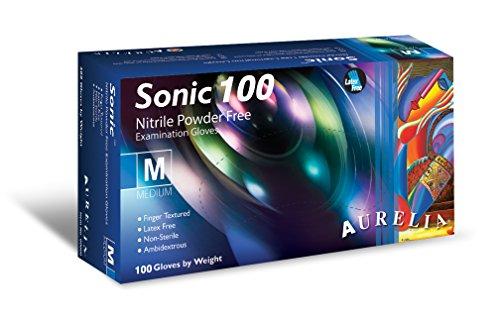 Sonic 100 9377b7 Gants d'examen en nitrile sans poudre, Medium, Bleu (lot de 100)
