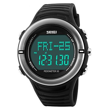 FENKOO Herren Armbanduhr digital LED/Kalender/Chronograph/Wasserdicht/Alarm/Herzschlagmonitor/Sportuhr PU Band Schwarz/Grün Marke-