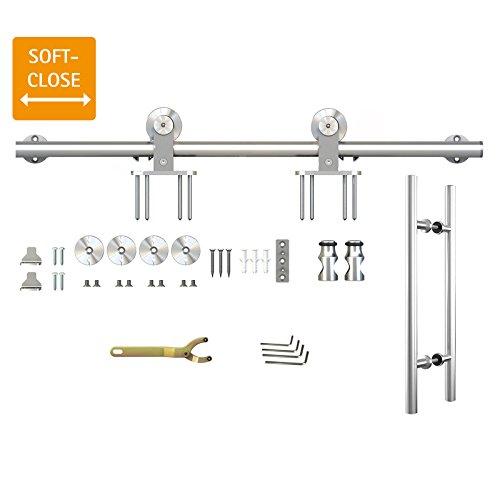 inova Edelstahl Beschlag-Set Laufschiene Schiebetür-Beschlag Schiebetürsystem 200cm mit Stangengriff Softclose Star